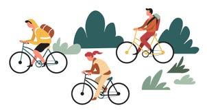远足的或挑运的室外活动家庭乘坐的自行车 皇族释放例证