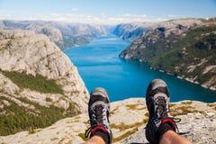 远足的挪威-逃命 免版税库存图片