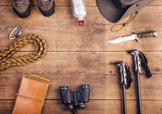 远足的设备 免版税图库摄影