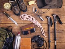 远足的设备 免版税库存照片