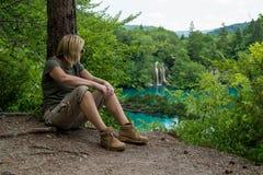 远足者作为休息 图库摄影