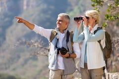 远足者双筒望远镜丈夫指向 免版税库存照片