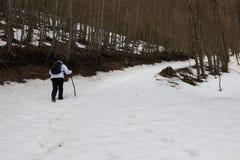 远足者和雪 库存图片