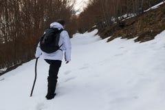 远足者和雪 图库摄影