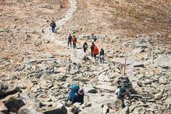 远足者在与背包的巴比亚Gora山旅行 免版税库存图片
