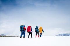 远足者在远足编组 免版税库存照片