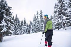 远足者在雪靴审阅高山草甸 免版税库存照片