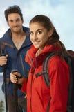 年轻远足者妇女画象  免版税库存图片