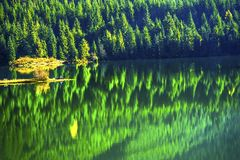 远足者绿色黄色抽象Gold湖Snoqualme通行证华盛顿 库存图片
