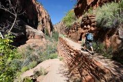 远足者,登陆线索的天使在Zion国家公园 免版税库存照片
