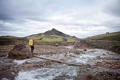 远足者Laugavegur艰苦跋涉-冰岛 库存照片