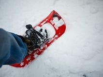 远足者snowshoeing的冬天 库存照片