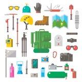 远足设备集合平的设计  图库摄影