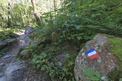 远足足迹在法国 在岩石的被绘的法国旗子 免版税库存图片