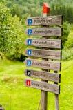 远足路标在挪威 库存图片