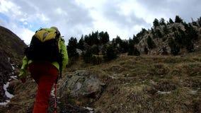 远足迁徙在山 走与背包的妇女后面的背面图 股票录像