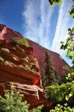远足通过在泰勒小河的峡谷在锡安国家公园 库存照片