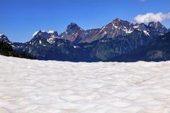远足雪原红色山艺术家点冰川华盛顿 库存图片