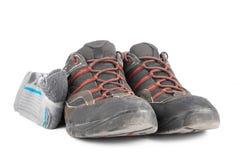 远足鞋子的半新夏天 库存照片