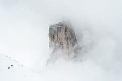 远足Tre Cime在冬天 免版税图库摄影