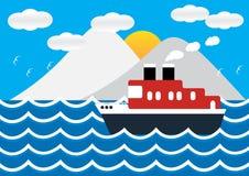 远洋班轮在海视图的小船船在与冰山的日落 免版税库存照片