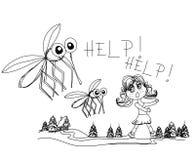 远离蚊子的女孩奔跑 库存照片