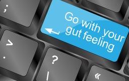 连同您的肠感 与行情按钮的键盘钥匙 激动人心的诱导行情 库存图片