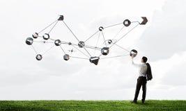 连接世界的技术 混合画法 免版税图库摄影