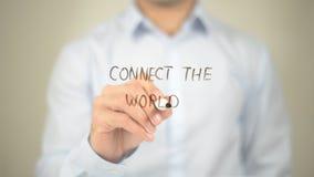 连接世界,在透明屏幕上的人文字 库存图片