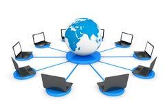 连接到全球资讯网概念。有耳朵的便携式计算机 库存图片