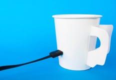 连接到咖啡杯 免版税库存照片