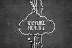 连接到在云彩的虚拟现实文本的计算机网络 免版税库存照片