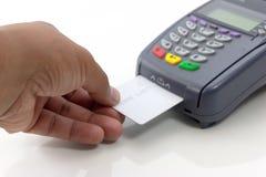 连接卡片在白色隔绝的付款终端 图库摄影