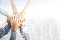 连接四个现有量合伙企业难题配合的概念 图库摄影