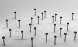 连接在社会媒介, 3d翻译communicati的Pin网络 免版税库存图片