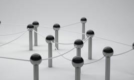 连接在社会媒介, 3d翻译communicati的Pin网络 库存照片