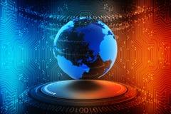 连接地球的互联网,数字式抽象技术背景,电路板背景 免版税库存图片