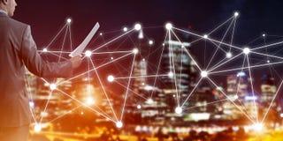 连接并且合作人们现代企业网络的概念 免版税库存照片