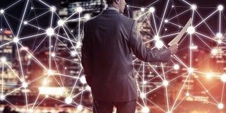 连接并且合作现代企业网络的概念 免版税库存照片