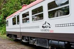 连接库斯科和马丘比丘的火车在秘鲁 免版税库存照片
