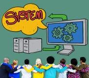 系统连接技术数据网概念 库存照片