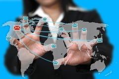 连接数邮件世界 库存图片