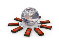 连接新的想法到世界 免版税库存照片