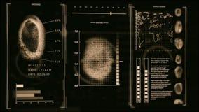 连接查寻指纹人们,扫描黑暗的金子颜色, 3D的屏幕指纹照相机 影视素材