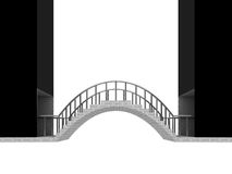 连接桥梁在白色隔绝的曲拱场面 免版税库存照片