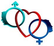 连接的性标志 免版税库存图片