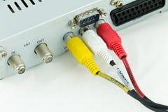 连接的AV缆绳 库存图片