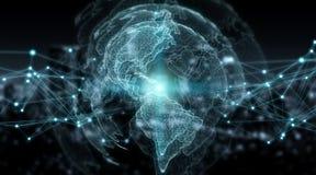 连接系统全球性世界观3D翻译 图库摄影