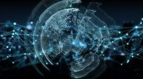 连接系统全球性世界观3D翻译 免版税库存图片