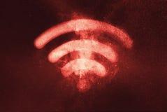 连接设备fi网络rf无线符号的wi Wi fi标志 抽象夜空背景 皇族释放例证
